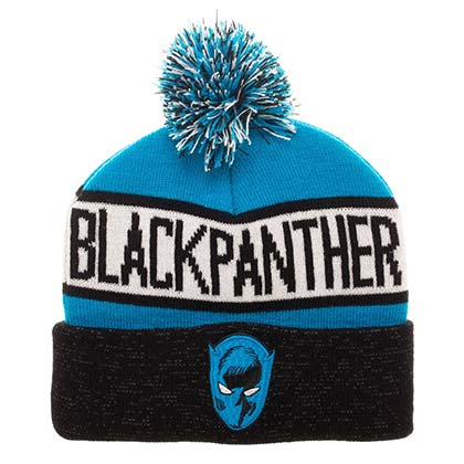 BLACK PANTHER Reflective Winter Pom Beanie
