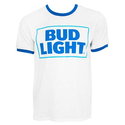 BUD LIGHT White Beer Logo Ringer Tee Shirt
