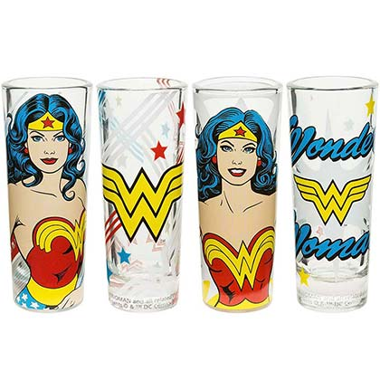 Wonder Woman 4 Pack Shot Glasses