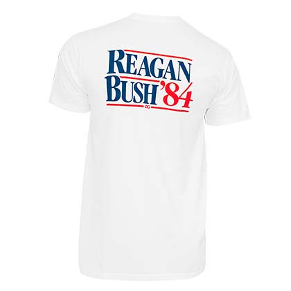 Reagan Bush '84 White Pocket Tee Shirt
