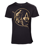 Assassins Creed Origins T-shirt - Golden Bayek And Crest Logo Black