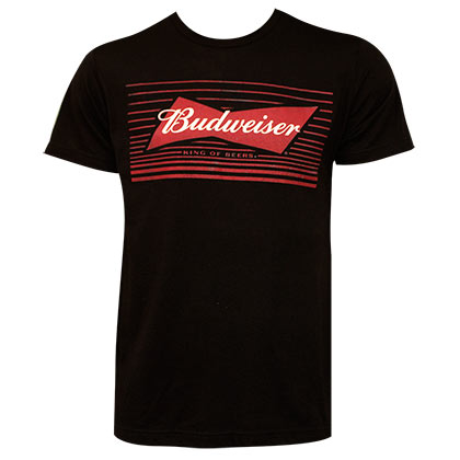BUDWEISER Red Box Bow Tie Logo Black Tshirt