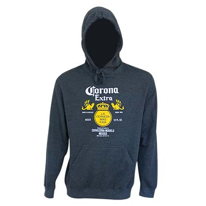 Corona Bottle Label Navy Blue Hoodie