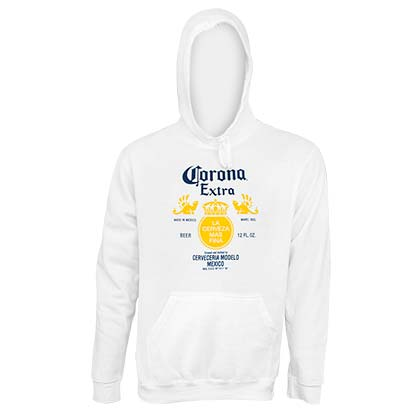 CORONA EXTRA Bottle Label White Hoodie