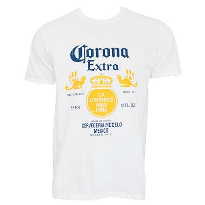 CORONA EXTRA Bottle Label White Tshirt