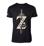 NINTENDO Legend of Zelda Men's Big Z Logo with Sword T-Shirt, Small, Black