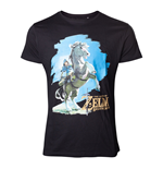 NINTENDO Legend of Zelda Breath of the Wild Men's Link on his Horse T-Shirt, Small, Black