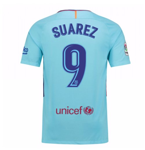 cfc84fa99f 2017-2018 Barcelona Away Shirt (Suarez 9) - Kids