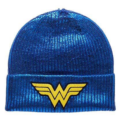 WONDER WOMAN Winter Metallic Blue Beanie