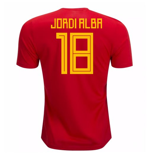 2018-19 Spain Home Shirt (Jordi Alba 18)