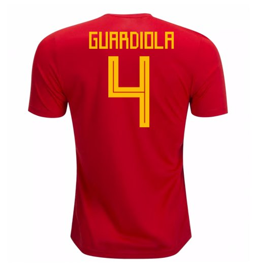 2018-19 Spain Home Shirt (Guardiola 4) - Kids