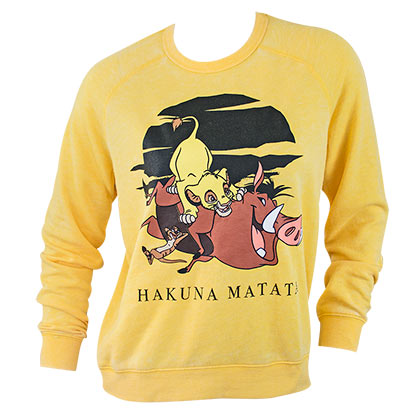 LION KING Women's Yellow Crewneck Sweatshirt