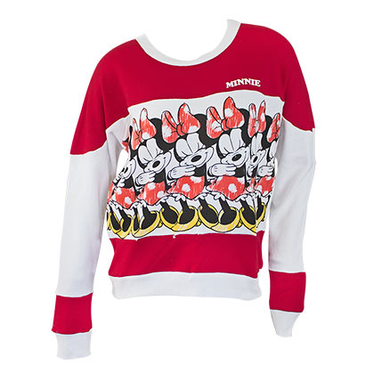 Minnie Mouse Women's Striped Red and White Crewneck Sweatshirt