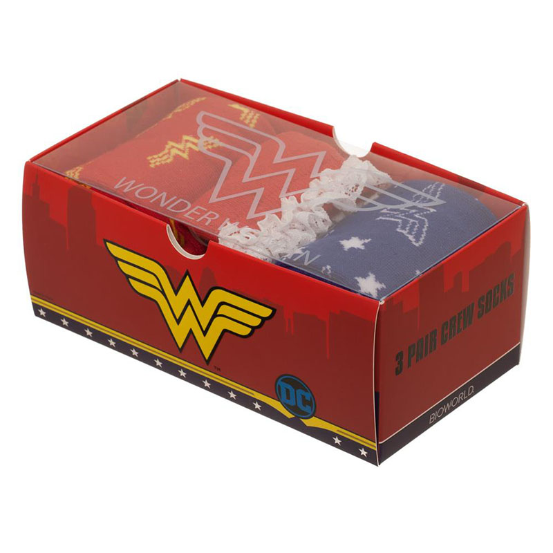 Buy Official Wonder Woman 3 Pack Women S Crew Sock Gift Set
