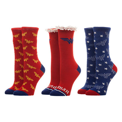 WONDER WOMAN 3 Pack Women's Crew Sock Gift Set