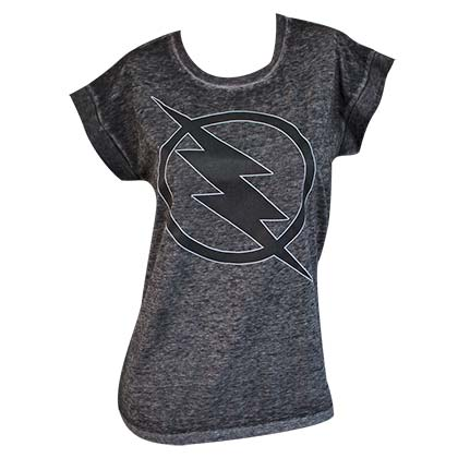 The FLASH Grey Rolled Sleeve Women's Tee Shirt