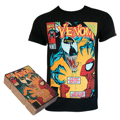 SPIDERMAN VS Venom Comic Cover Boxed Black Tee Shirt