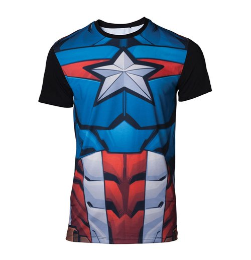MARVEL COMICS Captain America Men's Sublimation T-Shirt, Small, Multi-colour
