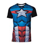 MARVEL COMICS Captain America Men's Sublimation T-Shirt, Large, Multi-colour
