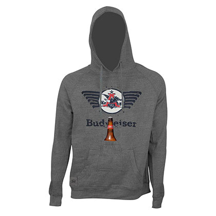 BUDWEISER Eagle Logo Bottle Opener Beer Pouch Hoodie