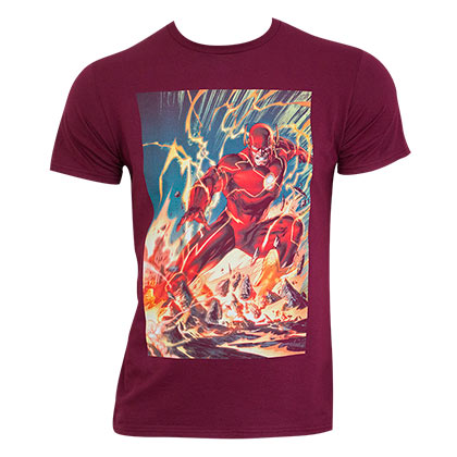 The FLASH Comic Panel Burgundy Tee Shirt