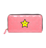 NINTENDO Super Mario Bros. Girl's Star Bi-fold Wallet with All-around Zipper, Pink