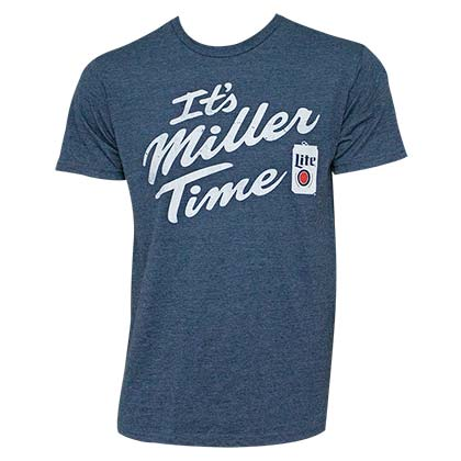 MILLER Lite It's MILLER Time Navy Blue Tee Shirt