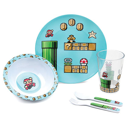 Nintendo Super MARIO Bros. Melamine Mealtime 5 Piece Set