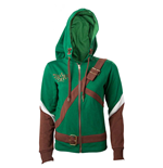 NINTENDO Legend of Zelda Female Link Outfit Full Length Zip Hoodie, Large, Multi-colour