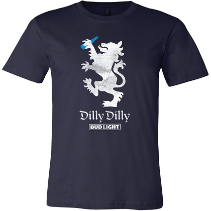 BUD LIGHT Dilly Dilly Lion Navy Blue Tshirt