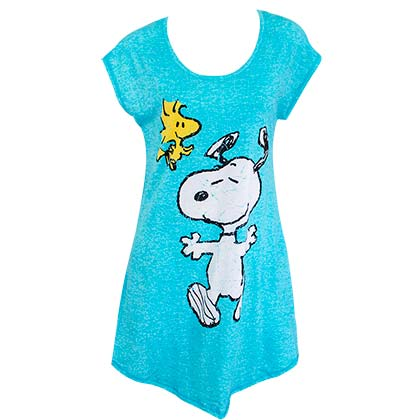 Snoopy And Woodstock Women's Blue Long Night Shirt