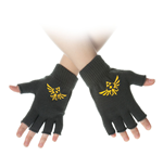 NINTENDO Legend of Zelda Royal Crest Fingerless Gloves, One Size, Yellow/Black