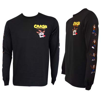 CRASH BANDICOOT Long Sleeve Black Tee Shirt