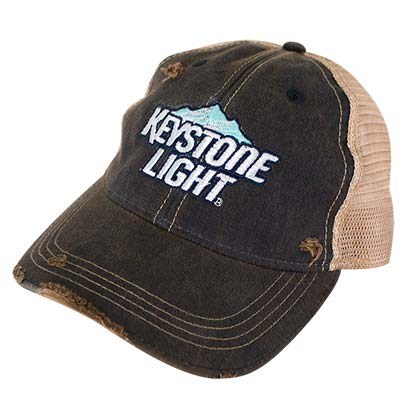 KEYSTONE LIGHT Distressed Mountain Logo Brown Trucker Hat