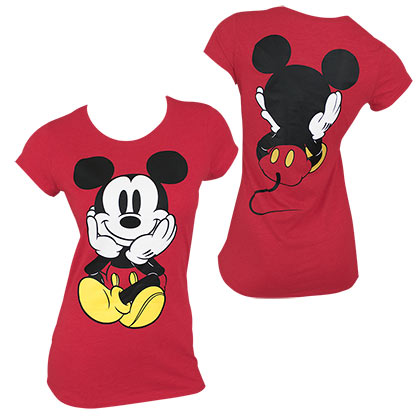 Mickey Mouse Front and Back Women's Red Tee Shirt