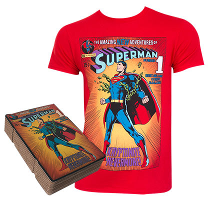 SUPERMAN Corrugated Boxed Red Tee Shirt