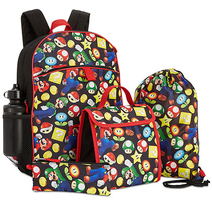 Super MARIO Bros. 5 Piece Backpack Lunch Kit