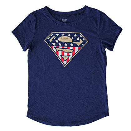SUPERMAN American Flag Glitter Logo Youth Girls Navy Blue Tee Shirt
