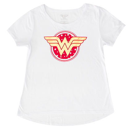 WONDER WOMAN Star Logo Youth Girls White Tee Shirt