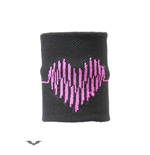 Black wristband with a pulse line heart