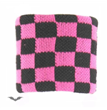 Wristband. Black / pink chequered.