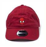 MARVEL COMICS Spider-man Embroidered Mask Stone Washed Denim Dad Cap, Red