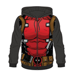 MARVEL COMICS Deadpool Men's Sublimation Full Length Zipper Hoodie, Large, Multi-colour