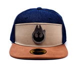 STAR WARS Han Solo Millennium Falcon Metal Badge Denim Snapback Baseball Cap, Multi-colour