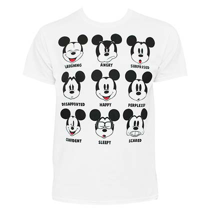 Mickey Mouse Expressions White Tee Shirt