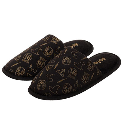 HARRY POTTER All Over Symbols Print Black Unisex Sandals