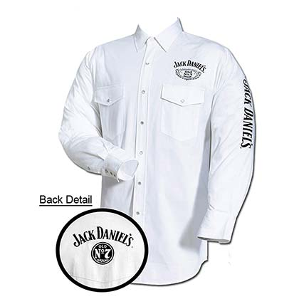 Jack Daniel's Embroidered Long Sleeve White Mens Button Down Western Shirt