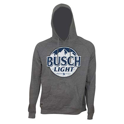 BUSCH Light Bottle Label Dark Grey Beer Pouch Hoodie