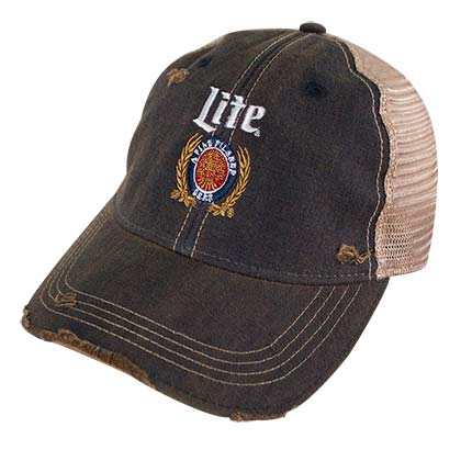 MILLER Lite Logo Retro Brand Men's Mesh Brown Trucker Hat
