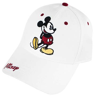 Mickey Mouse Classic Pose Cap White Adjustable Baseball Hat